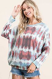 TIE DYE FRENCH TERRY ROUND NECK LONG SLEEVE TOP