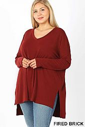 PLUS DOLMAN SLEEVE V-NECK SIDE SLIT HI-LOW HEM TOP