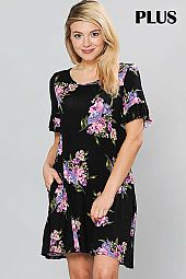 FLORAL PRINT RUFFLE SLEEVE ROUND NECK DRESS