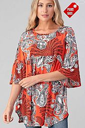 PAISLEY RUFFLE SLEEVE SHIRRED TUNIC PLUS