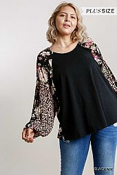 Floral Animal Printed Puff Sleeve Round Neck Top