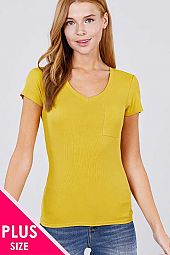 PLUS SHORT SLEEVE V NECK POCKET RAYON SPANDEX RIB TOP