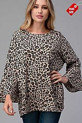 LEOPARD BELL SLEEVE TOP PLUS