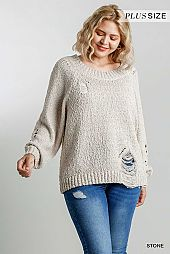 Distressed Detail Round Neck Pullover Sweater
