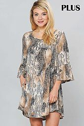 SNAKE PRINT RUFFLE BELL SLEEVE ROUND NECK DRESS