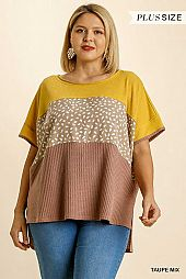 Colorblock Waffle Knit Wide Round Neck Top