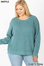 PLUS HI-LOW LONG SLEEVE ROUND NECK WAFFLE SWEATER