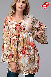 FLORAL SHIRRED RUFFLE SLEEVE TOP PLUS