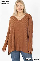 PLUS BRUSHED THERMAL WAFFLE V-NECK SWEATER