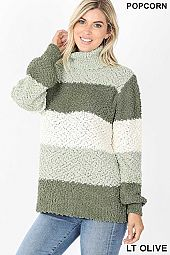 TURTLENECK COLOR BLOCK POPCORN SWEATER