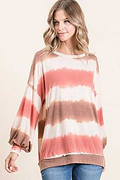 WATERCOLOR STRIPE ROUND NECK LONG SLEEVE TOP