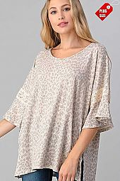 LEOPARD  PRINT SLEEVE LACE COMBO TOP PLUS