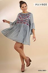 Bell Sleeve Keyhole Dress