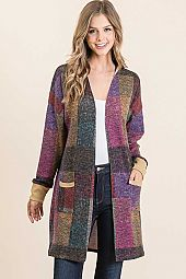 PLAID MULTI HAIR MIR FRONT POCKET OPEN CARDIGAN