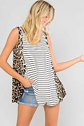 LEOPARD SIDE CONTRAST STRIPED SLEEVELESS TUNIC