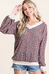 CHEETAH PRINTED THERMAL CONTRAST V NECK TOP