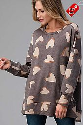HEART PRINT SLIT SIDES BANDED TOP PLUS