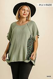 Animal Print Round Neck Short Layered Sleeve Top