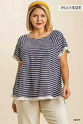Striped Short Sleeve Round Neck TOP
