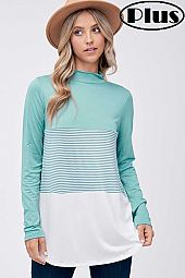 SOLID PIN STRIPE COLOR BLOCKED MOCK NECK PLUS TOP
