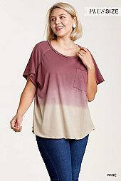Dip Dye Round Neck Short Sleeve Top