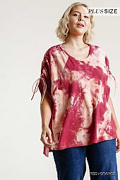 Tie-Dye Cinched Short Sleeve Top