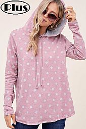 TERRY POLKA DOT PRINT LONG SLEEVE HOODIE PLUS TOP
