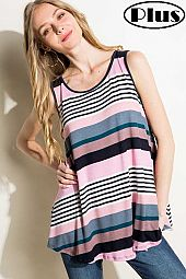 MULTI STRIPE BACK NECK KEYHOLE PLUS TANK TOP