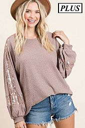 Plus Sequins Waffle Knit Top
