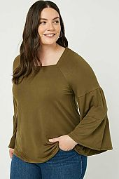 Plus Soft French Terry Long Sleeve Square Neck Top