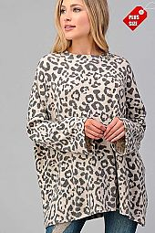 LEOPARD PRINT OVER SIZE TOP PLUS