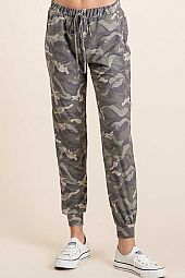 CAMO PRINT FRENCH TERRY FRONT TIE BAND JOGGERS