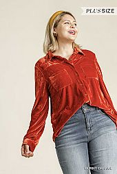 Long Sleeve Velvet Button Up Top with Pockets