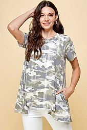 CAMO PRINT JERSEY HI LO WITH POCKET LOOSE FIT TOP