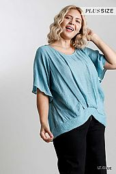Sheer Round Neck Short Bell Sleeve Top