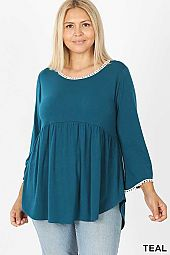 PLUS POMPOM TRIM EMPIRE WAIST SHIRRING TOP