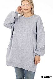 PLUS OVERSIZED ROUND NECK LONGLINE SWEATSHIRTS