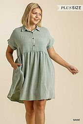 Button Front Collared Short Sleeve Babydoll Dress