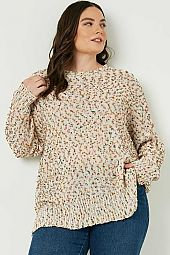 Plus Textured Confetti Knit Sweater