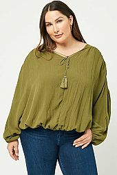 Plus Tasseled V Neck Dolman Top
