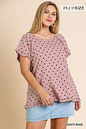 POLKA DOT PRINT SHORT SLEEVE ROUND NECK TOP