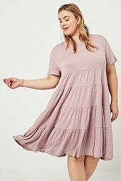Plus Ribbed Midi Swing Dress