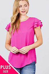 PLUS SHORT CAP RUFFLE SLEEVE ROUND NECK WOVEN TOP