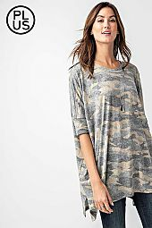 Plus, Camo Printed Tri-Blend 1/2 Sleeves Tunic Top