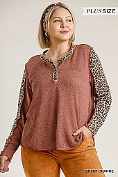 Animal Print Button Front Stitching Detail Top