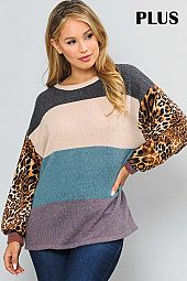 MULTI COLOR BLOCK ROUND NECK TOP