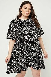 Plus Dotted Asymmetrical Ruffle Mini Dress