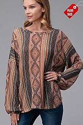 AZTEC PUFF SLEEVE LOOSE FIT TOP PLUS