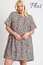 ANIMAL PRINT ROUND NECK BUTTON UP DRESS