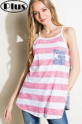 AMERICAN FLAG POCKET PLUS TANK TOP
